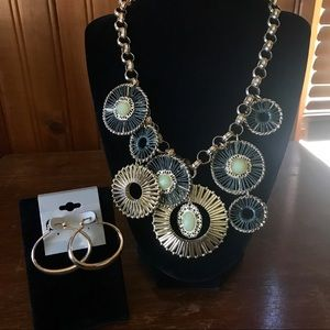 Statement necklace with sterling earrings